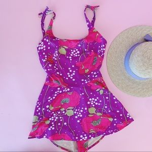 Vtg 60s Neon Floral Swimsuit